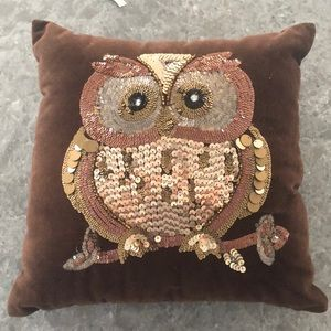 Beaded owl accent pillow